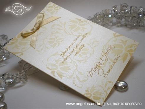 zahvalnica za vjenčanje krem šampanj s cvjetovima