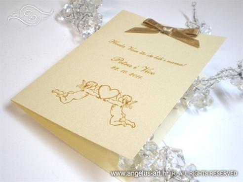 zahvalnica za vjenčanje krem zlatna s anđelima i mašnom