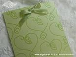 zahvalnica za vjenčanje sa zelenom mašnicom i srcem