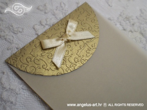 zahvalnica za vjenčanje staro zlato sa šampanj mašnom i 3D uzorkom