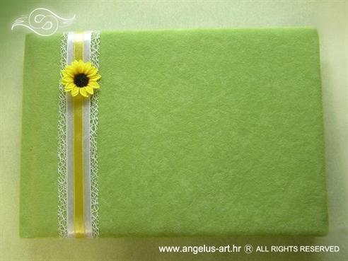 zelena knjiga dojmova za vjenčanje sa suncokretom i mrežom