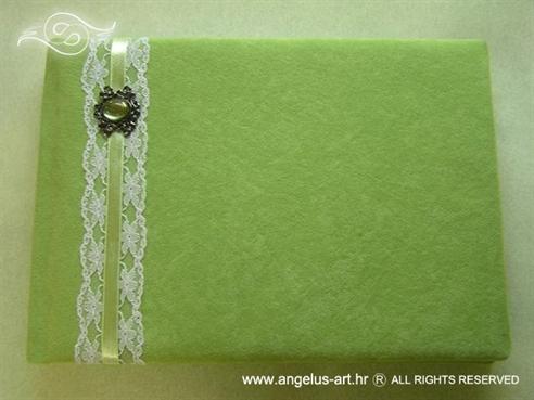zelena knjiga gostiju za vjenčanje s čipkom i brošem