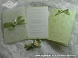 zelena pozivnica i zahvalnica sa srcima komplet