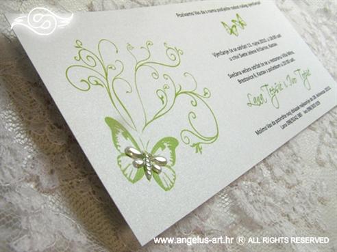 zelena pozivnica za vjenčanje s leptirima