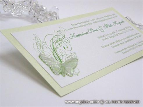 zelena pozivnica za vjenčanje s leptirom i tiskom