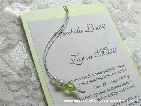 zelena pozivnica za vjenčanje s perlicama na izvlačenje