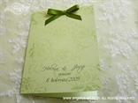 zelena zahvalnica za vjenčanje s cvjetnim ornamentima i mašnicom
