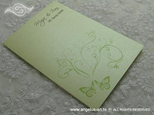 zelena zahvalnica za vjenčanje s leptirima