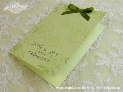 zelena zahvalnica za vjenčanje sa zelenom mašnicom