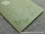 zeleni leptiri na zahvalnici s pastelnim perlastim kartonom