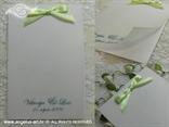 zeleno bijela zahvalnica za vjenčanje sa satenskom mašnom i paus papirom