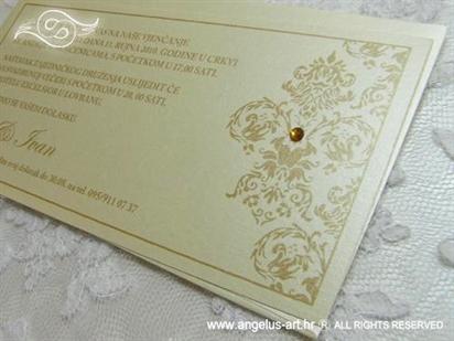 zlatna bež pozivnica za vjenčanje s cirkonom
