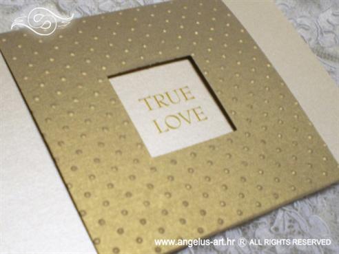 zlatna krem pozivnica za vjenčanje s prozorčićem