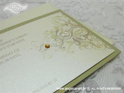 zlatna moderna pozivnica za vjenčanje s cirkonom