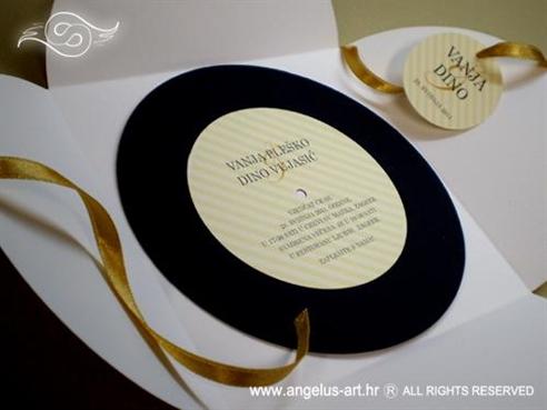 zlatna neobična pozivnica u obliku gramofonske ploče
