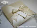 zlatna pozivnica u krem tonovima za vjenčanje