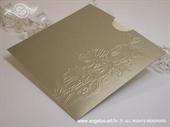Pozivnica za vjenčanje Gold Flower Charm