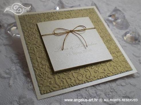 zlatna pozivnica za vjenčanje s mašnicom na rasklapanje