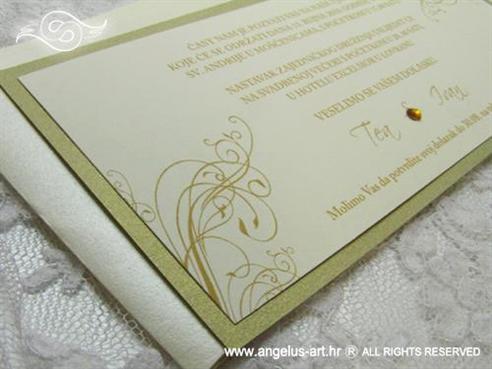 zlatna pozivnica za vjenčanje sa zlatnim cirkonom