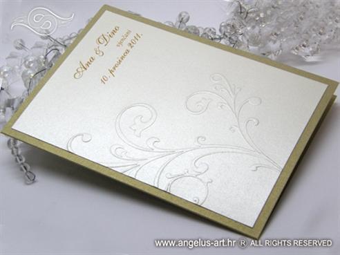 zlatna zahvalnica za vjenčanje s 3D reljefnim uzorkom