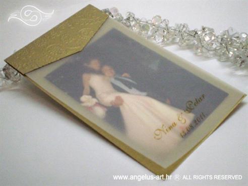 zlatna zahvalnica za vjenčanje s 3D tiskom i paus papirom